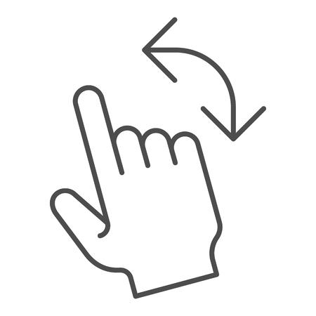 Turn left gesture thin line icon  Swipe vector illustration isolated
