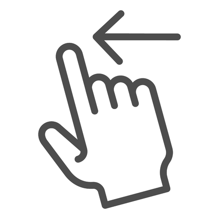 Swipe left line icon. Flick left vector illustration isolated on white. Gesture outline style design, designed for web and app.