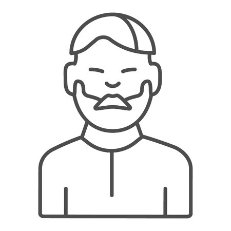 Man with moustache thin line icon. Bearded boy vector illustration isolated on white. Unshaven male outline style design, designed for web and app.