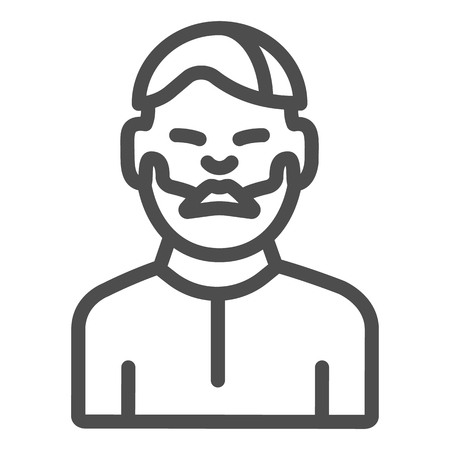 Man with moustache line icon. Bearded boy vector illustration isolated on white. Unshaven male outline style design, designed for web and app. Eps 10