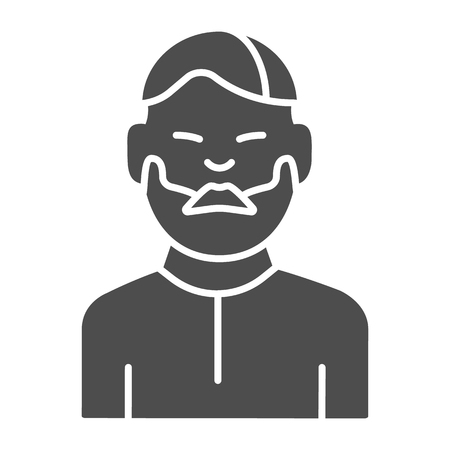 Man with moustache solid icon. Bearded boy vector illustration isolated on white. Unshaven male glyph style design, designed for web and app. Eps 10