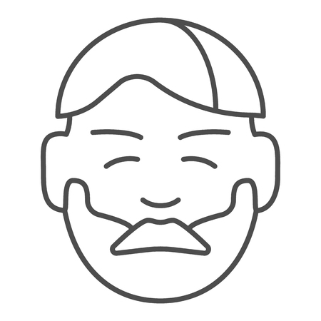 Man with beard and mustache thin line icon. Boy with beard vector illustration isolated on white. Unshaved face outline style design, designed for web and app.