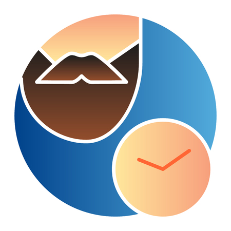 Bearded man and watch flat icon. Shaving time color icons in trendy flat style. Beard and clock gradient style design, designed for web and app.