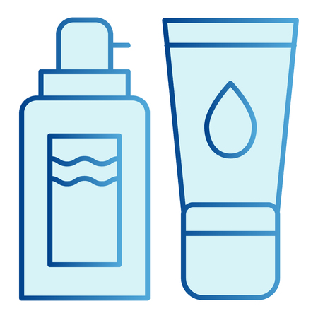 Shower gel and cream flat icon. Dispenser and skin cream blue icons in trendy flat style. Cosmetic bottles gradient style design, designed for web and app.