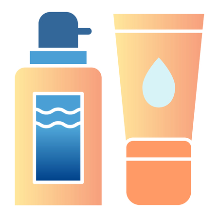 Shower gel and cream flat icon. Dispenser and skin cream color icons in trendy flat style. Cosmetic bottles gradient style design, designed for web and app