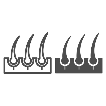 Bristle hair line and glyph icon. Shaving vector illustration isolated on white. Hair and skin outline style design, designed for web and app. Иллюстрация