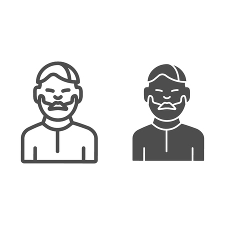 Man with moustache line and glyph icon. Bearded boy vector illustration isolated on white. Unshaven male outline style design, designed for web and app. Eps 10 Çizim