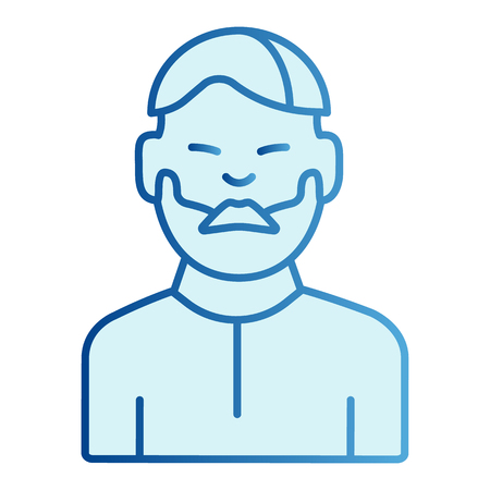 Man with beard flat icon. Bearded male blue icons in trendy flat style. Unshaved guy gradient style design, designed for web and app. 일러스트