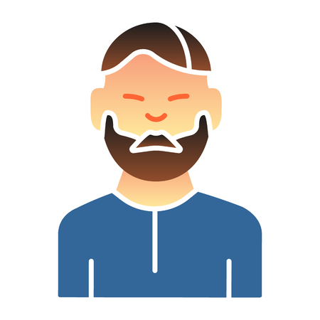 Man with beard flat icon. Bearded male color icons in trendy flat style. Unshaved guy gradient style design, designed for web and app.
