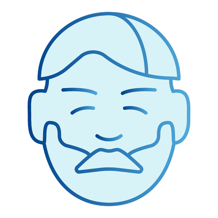 Man face with beard flat icon. Bearded guy blue icons in trendy flat style. Unshaved male gradient style design, designed for web and app.