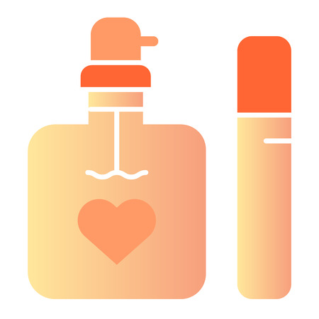 Perfume flat icon. Two bottles of fragrance color icons in trendy flat style. Aroma gradient style design, designed for web and app.
