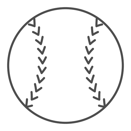 Baseball ball thin line icon. Sport equipment vector illustration isolated on white. Game outline style design, designed for web and app. 向量圖像