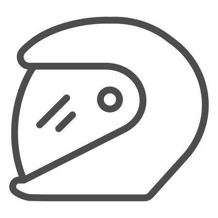 Racing helmet line icon. Motorcycle helmet vector illustration isolated on white. Motorbike helmet outline style design, designed for web and app.