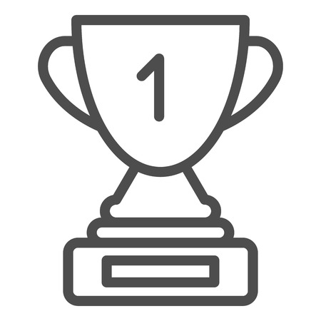 Award cup line icon. Winner cup vector illustration isolated on white. Trophy goblet outline style design, designed for web and app.