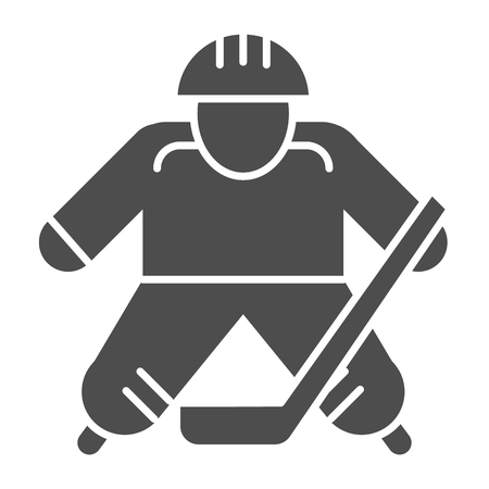 Hokey player solid icon. Ice hockey player vector illustration isolated on white. Sportsman glyph style design, designed for web and app.