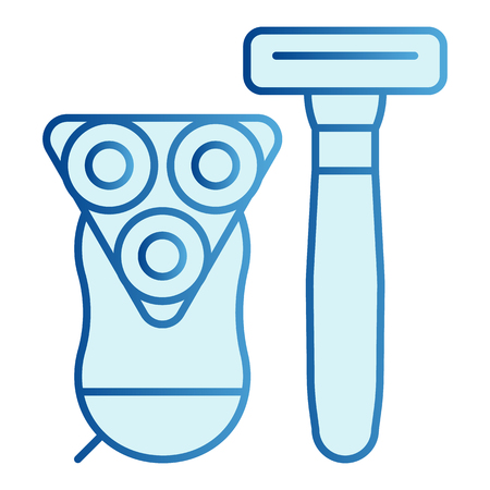 Razors flat icon. Disposable and electric shaver blue icons in trendy flat style. Shaving equipment gradient style design, designed for web and app.
