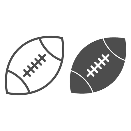 Rugby ball line and glyph icon. American football ball vector illustration isolated on white. Sport equipment outline style design, designed for web and app.
