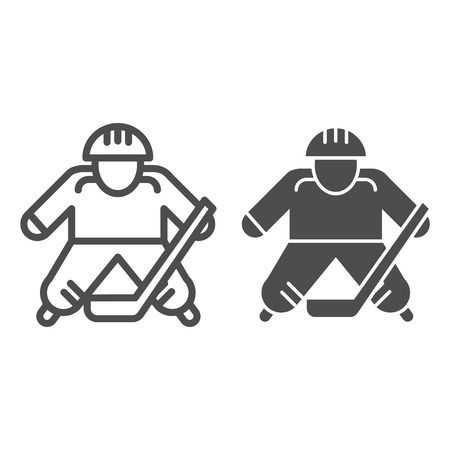 Hokey player line and glyph icon. Ice hockey player vector illustration isolated on white. Sportsman outline style design, designed for web and app.