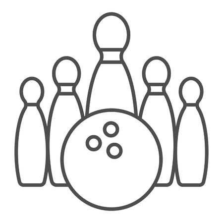 Bowling thin line icon. Bowling pin vector illustration isolated on white. Skittles outline style design, designed for web and app. Illustration