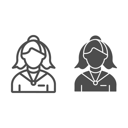 Female receptionist line and glyph icon. Administrator vector illustration isolated on white. Woman assistant outline style design, designed for web and app. Eps 10