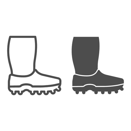 Rubber boots line and glyph icon. Footwear vector illustration isolated on white. Watertight outline style design, designed for web and app.