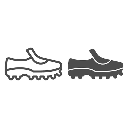 Soccer shoes line and glyph icon. Sport shoes vector illustration isolated on white. Football footwear outline style design, designed for web and app.