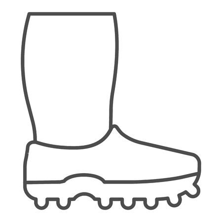 Rubber boots thin line icon. Footwear vector illustration isolated on white. Watertight outline style design, designed for web and app. Illustration