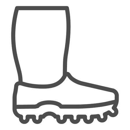 Rubber boots line icon. Footwear vector illustration isolated on white. Watertight outline style design, designed for web and app.