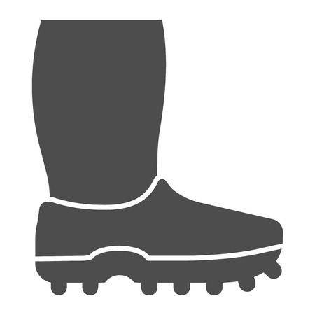 Rubber boots solid icon. Footwear vector illustration isolated on white. Watertight glyph style design, designed for web and app. Illustration