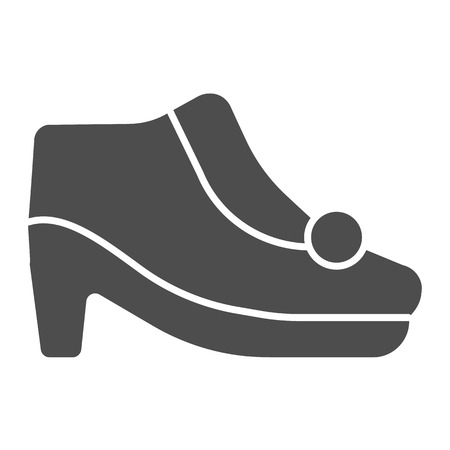 Autumn shoes on heels solid icon. Warm woman shoes vector illustration isolated on white. Female footwear glyph style design, designed for web and app