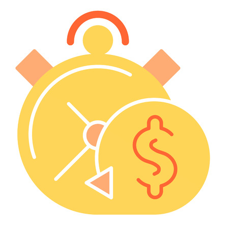Timely payment flat icon. Alarm clock color icons in trendy flat style. Pay in time gradient style design, designed for web and app. Illustration