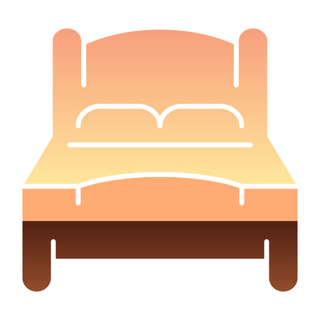Bad flat icon. Double bed color icons in trendy flat style. Double room gradient style design, designed for web and app.