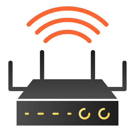Wifi coverage flat icon. Wireless router color icons in trendy flat style. Internet gradient style design, designed for web and app 写真素材 - 117903331