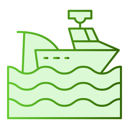 Fishing vessel flat icon. Fishing boat green icons in trendy flat style. Tawler gradient style design, designed for web and app Vector Illustration