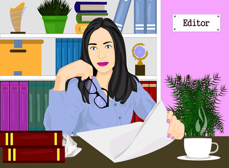Editor woman in her office with bookshelf vector icon. Concept of editor profession illustration. Girl holding the glasses and paper realistic style design, designed for web and app