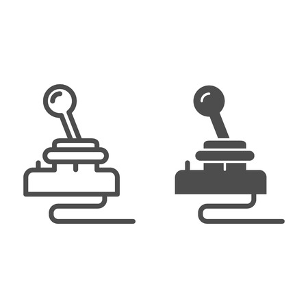 Retro joystick line and glyph icon. Game input pad vector illustration isolated on white. Game console outline style design, designed for web and app. Ilustrace