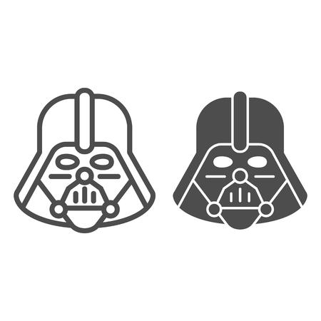 Linia i ikona glifu Dartha Vadera. Ilustracja wektorowa Gwiezdnych wojen na białym tle. Projekt stylu konspektu postaci kosmicznej, zaprojektowany dla sieci i aplikacji.