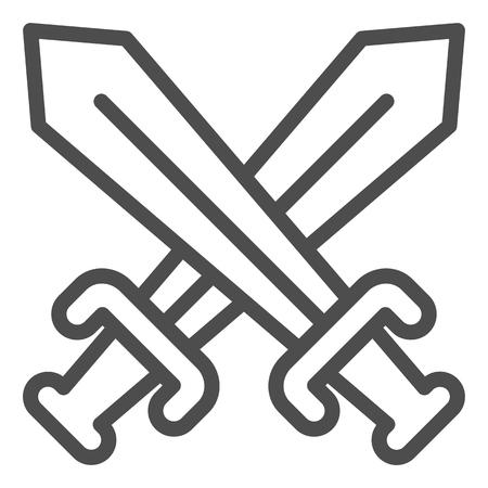 Icono de línea de espadas cruzadas. Ilustración de vector de cuchillas cruzadas aislado en blanco. Diseño de estilo de esquema de batalla, diseñado para web y aplicaciones.