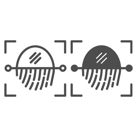 Fingerprint recognition sensor line and glyph icon. Focus with fingerprint sensor vector illustration isolated on white. Authentication outline style design, designed for web and app.