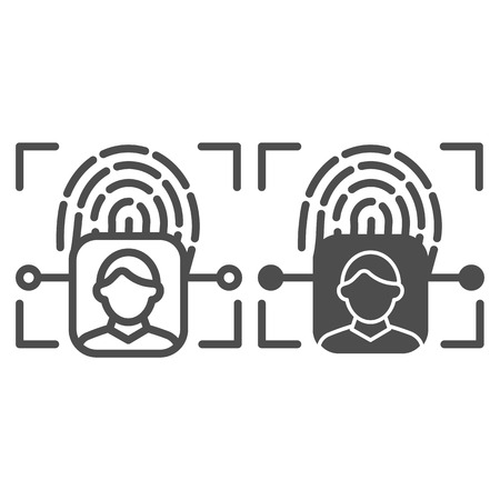 Fingerprint user recognition line and glyph icon. Focus with fingerprint sensor vector illustration isolated on white. Person authentication outline style design, designed for web and app.