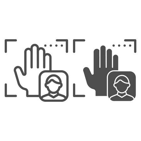 Palm user recognition line and glyph icon. Focus with hand print vector illustration isolated on white. Person palm authentication outline style design, designed for web and app.