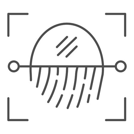 Fingerprint recognition sensor thin line icon. Focus with fingerprint sensor vector illustration isolated on white. Authentication outline style design, designed for web and app. Çizim
