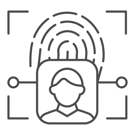Fingerprint user recognition thin line icon. Focus with fingerprint sensor vector illustration isolated on white. Person authentication outline style design, designed for web and app.