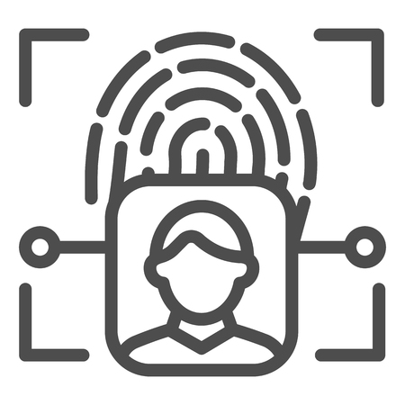 Fingerprint user recognition line icon. Focus with fingerprint sensor vector illustration isolated on white. Person authentication outline style design, designed for web and app