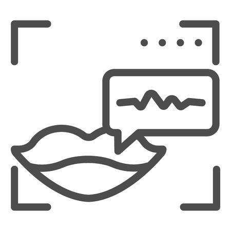 Sound recognition and lips line icon. Voice identification vector illustration isolated on white. Voice authentication outline style design, designed for web and app.
