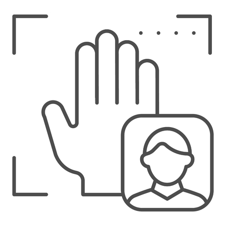 Palm user recognition thin line icon. Focus with hand print vector illustration isolated on white. Person palm authentication outline style design, designed for web and app