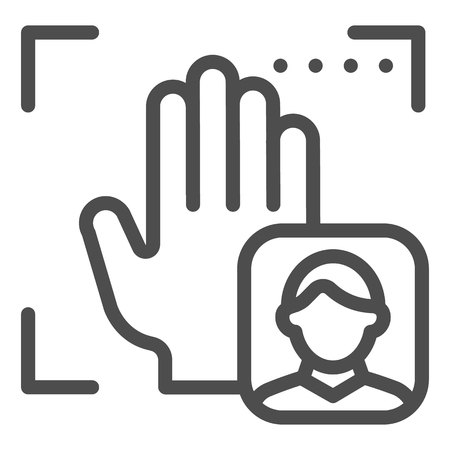 Palm user recognition line icon. Focus with hand print vector illustration isolated on white. Person palm authentication outline style design, designed for web and app Çizim