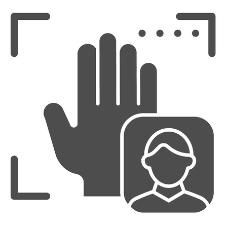 Palm user recognition solid icon. Focus with hand print vector illustration isolated on white. Person palm authentication glyph style design, designed for web and app Çizim