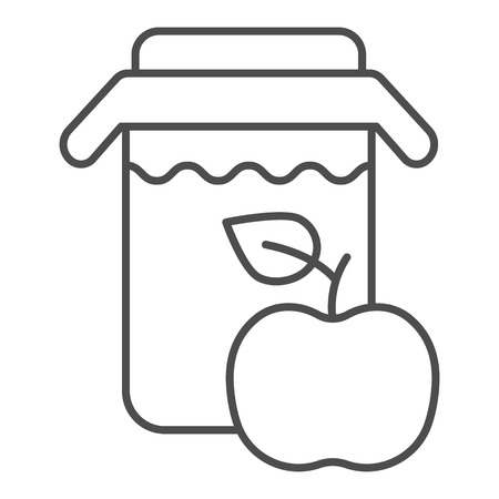 Apple juice thin line icon. Jar of apple juice vector illustration isolated on white. Fresh drink outline style design, designed for web and app.