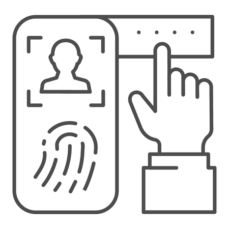 Identification of fingerprint on smartphone thin line icon. Verification print system on phone vector illustration isolated on white. Finger scanning on smartphone outline style design, designed for web and app.